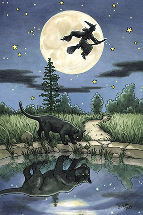 Witch riding broom during full moon while black cat drinking from lake