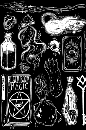 witch supplies in black and white