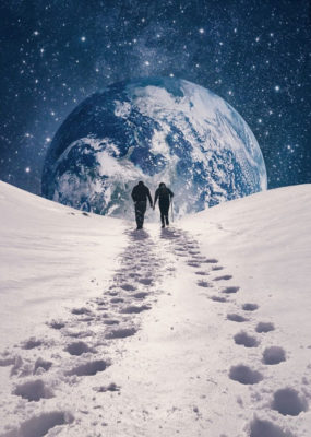 couple walking on snow towards earth through snow in outer space