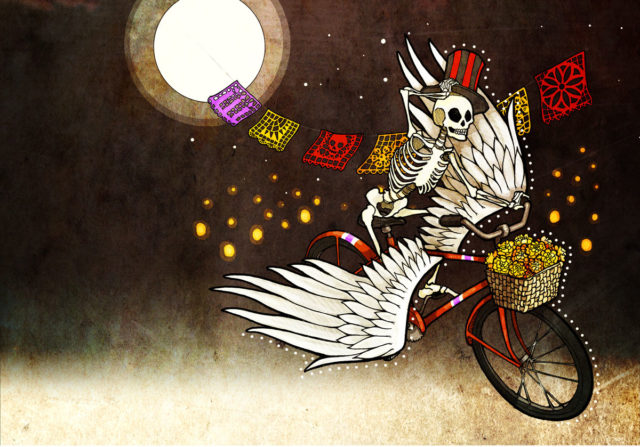 Skeleton riding a bike with wings and wearing a tophat during full moon