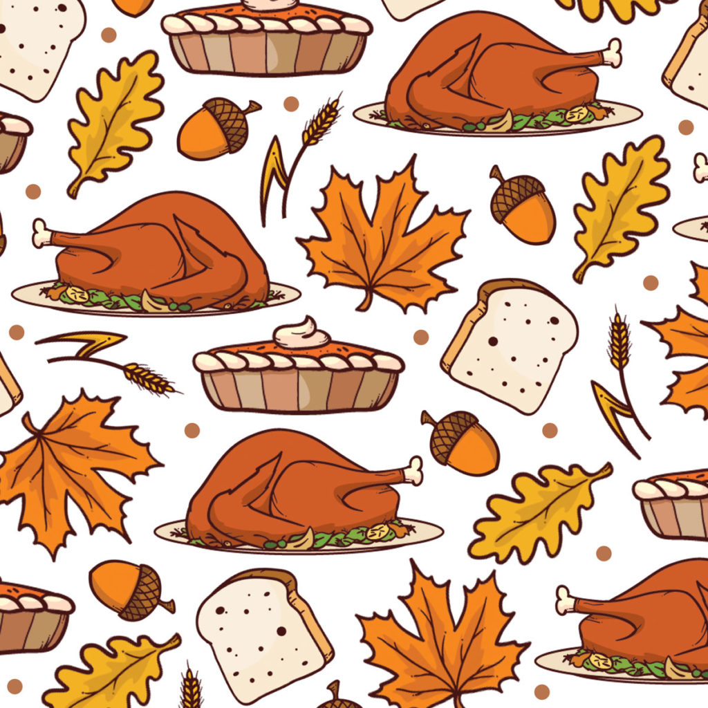 Bread turkey pumpkin pie leaves and acorns for thanksgiving