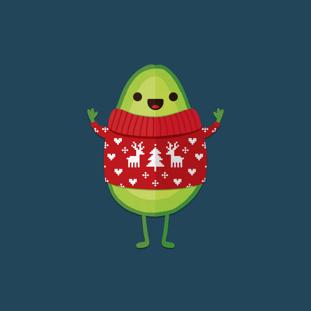 happy avocado in christmas sweater with reindeer and christmas tree design