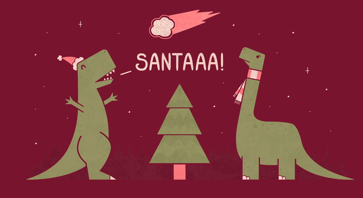 Dinosaurs, t-rex in xmas hat and longneck in scarf and christmas tree thinking asteroid is santa claus