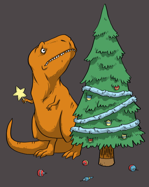 Orange T-rex tries putting star on top of christmas tree but has short arms