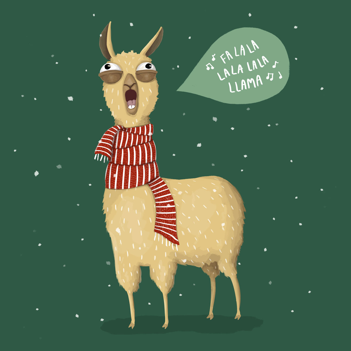 llama in a red scarf caroling with green background and snow falling