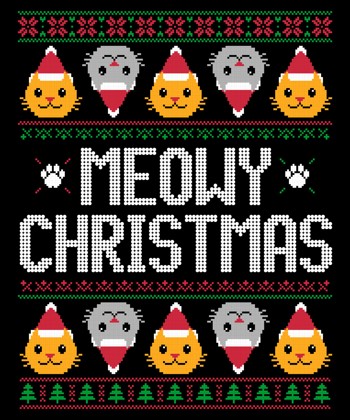 cats in christmas hats with the text meowy christmas