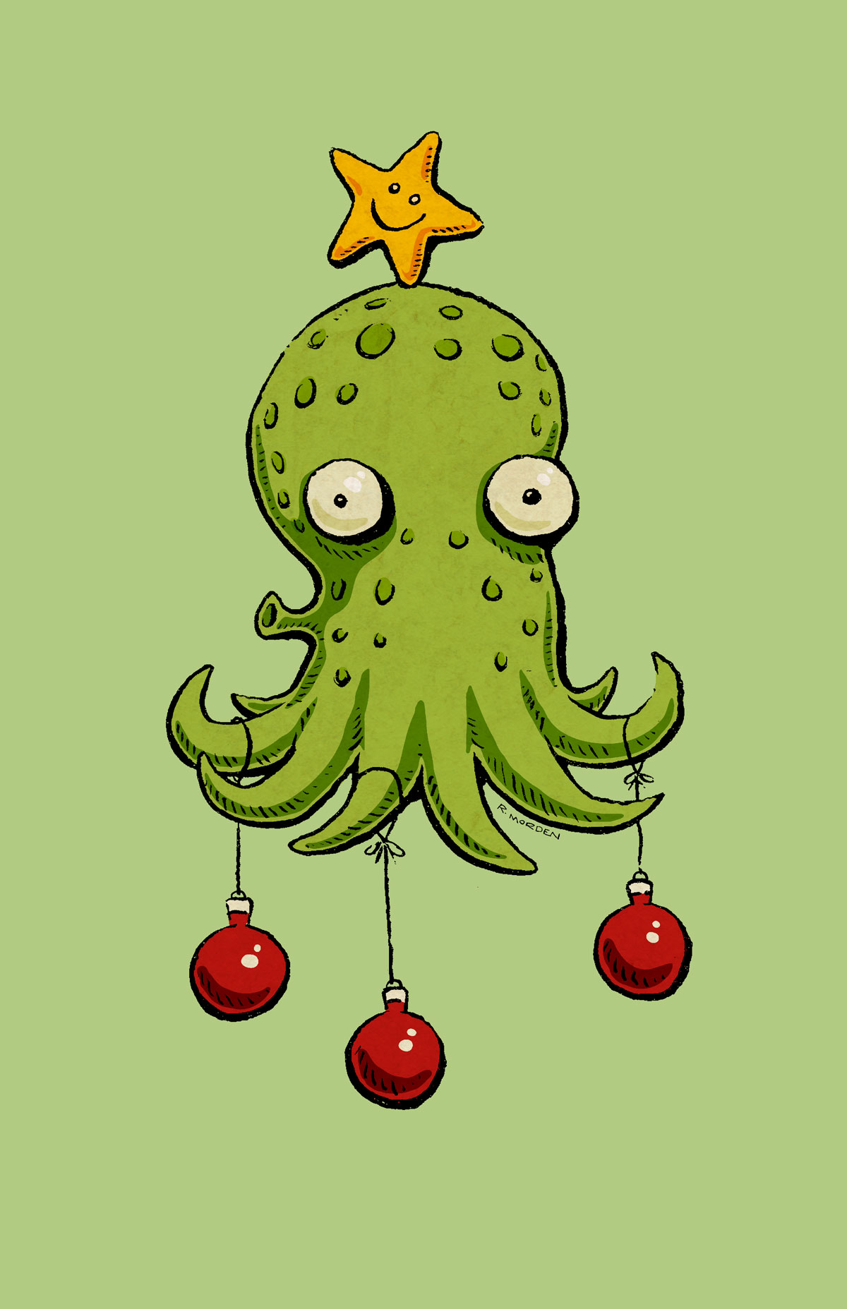 octopus with star and ornaments like christmas tree