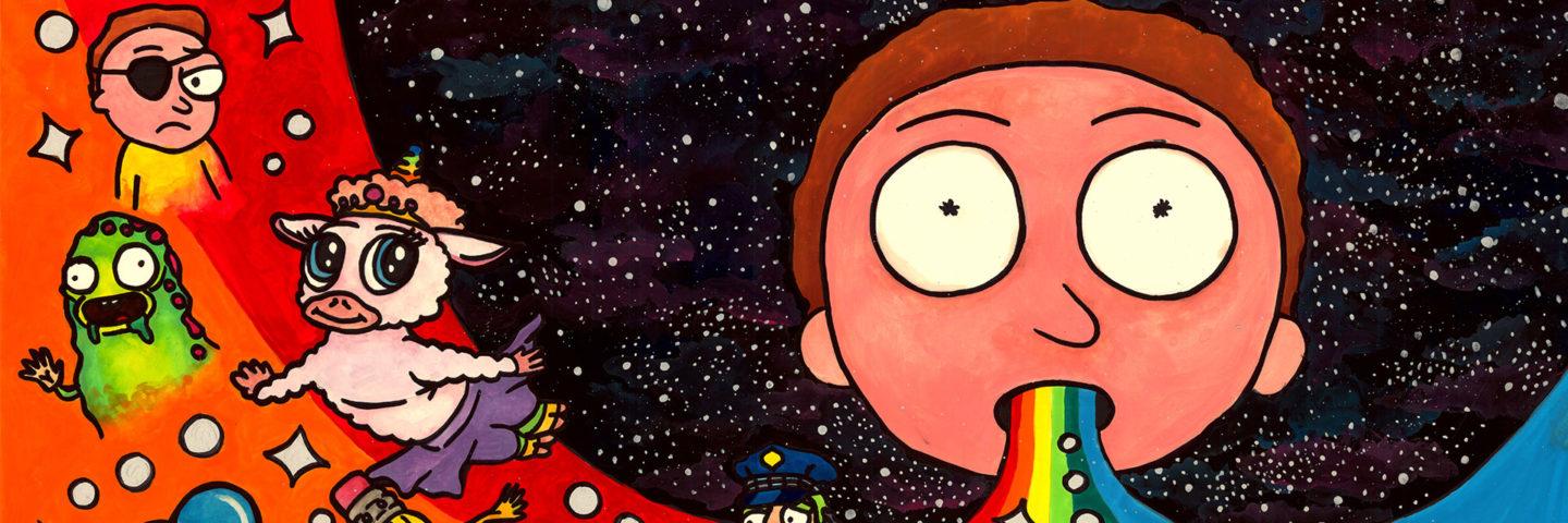 morty with rainbow drool in space with other characters floating