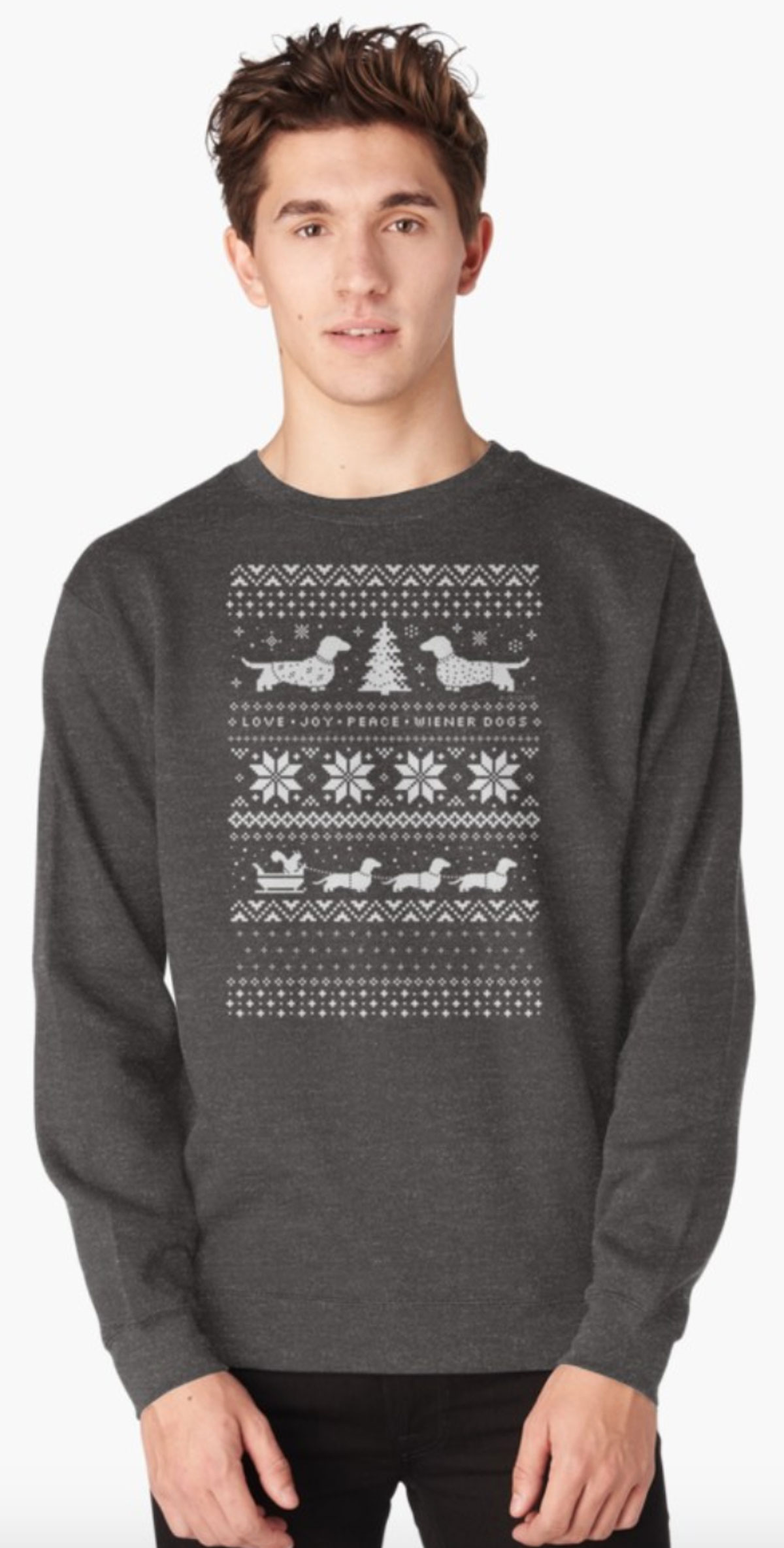 dachshunds in the snow pattern on sweater