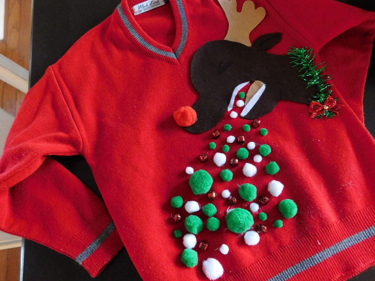 rudolph the reindeer throwing up on sweater
