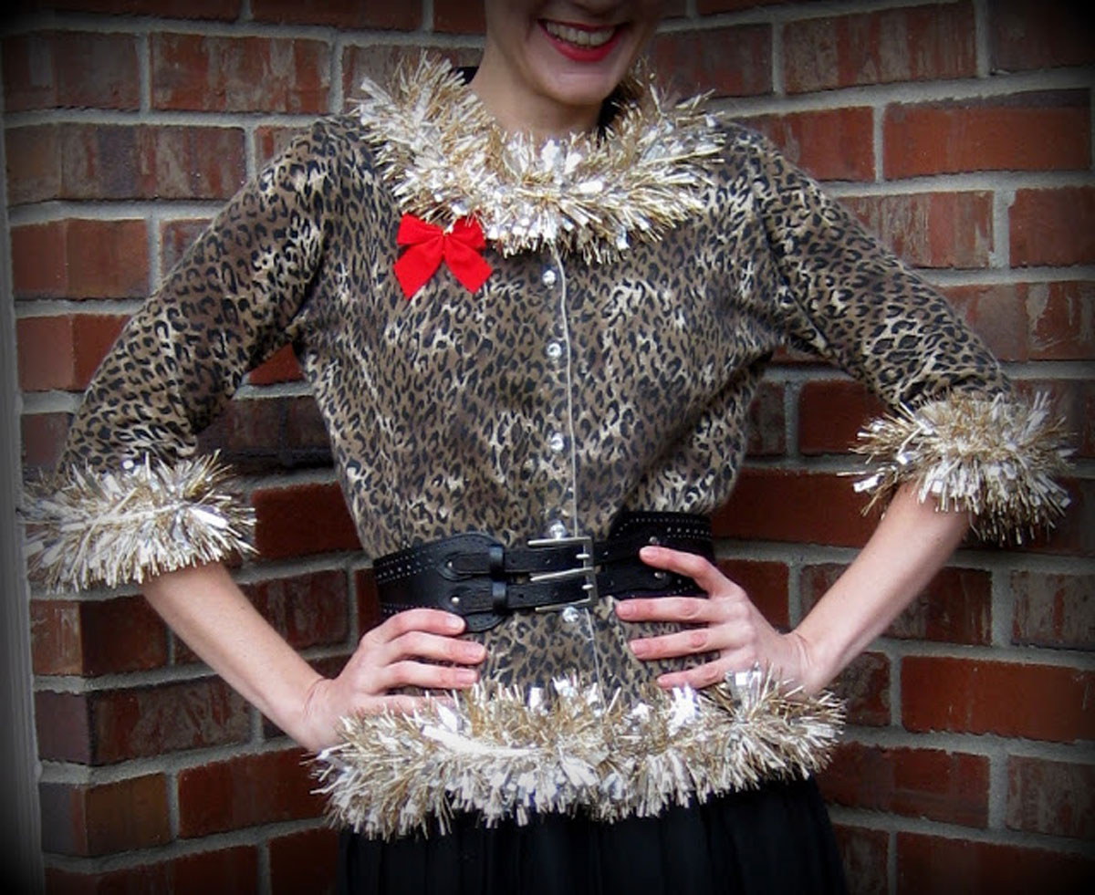 woman wearing a sweater made out of tinsel