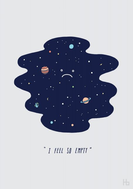 Space pun artwork saying 'I feel so empty' with an image of the atmosphere frowning