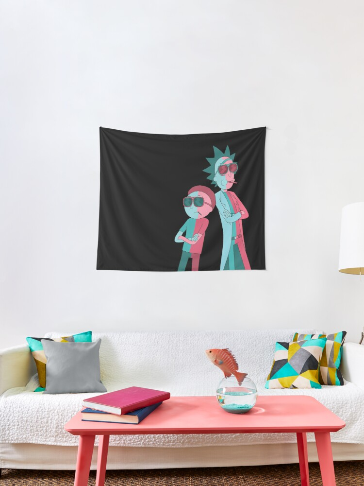 Rick and Morty tapestry neon black background