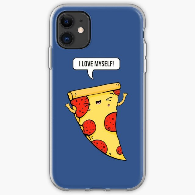 Cute Pizza Slice Design on an iPhone case with funny Statement about Self love. Perfect for every Fast Food and Pizza Lover.