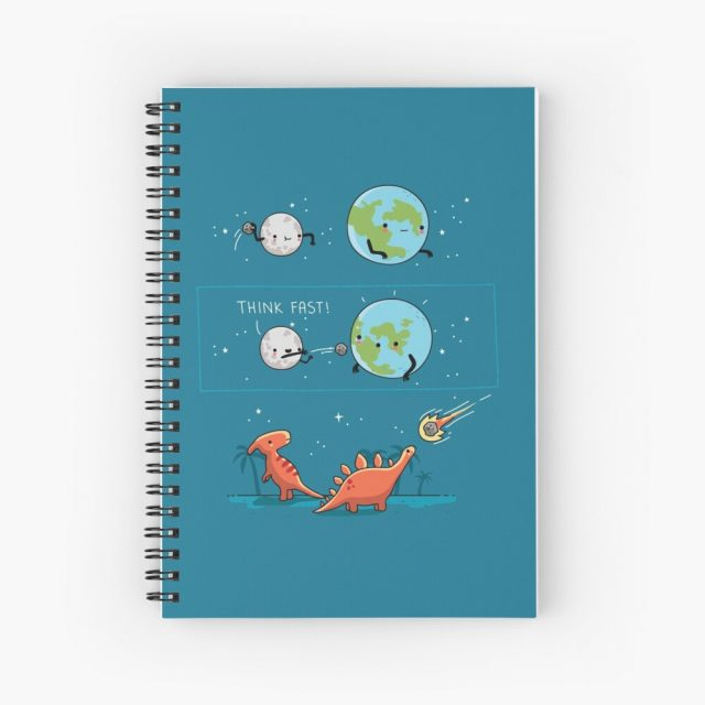Redbubble spiral notebook with space pun artwork showing a planet throwing a meteor at Earth and and dinosaurs looking at it coming in surprise