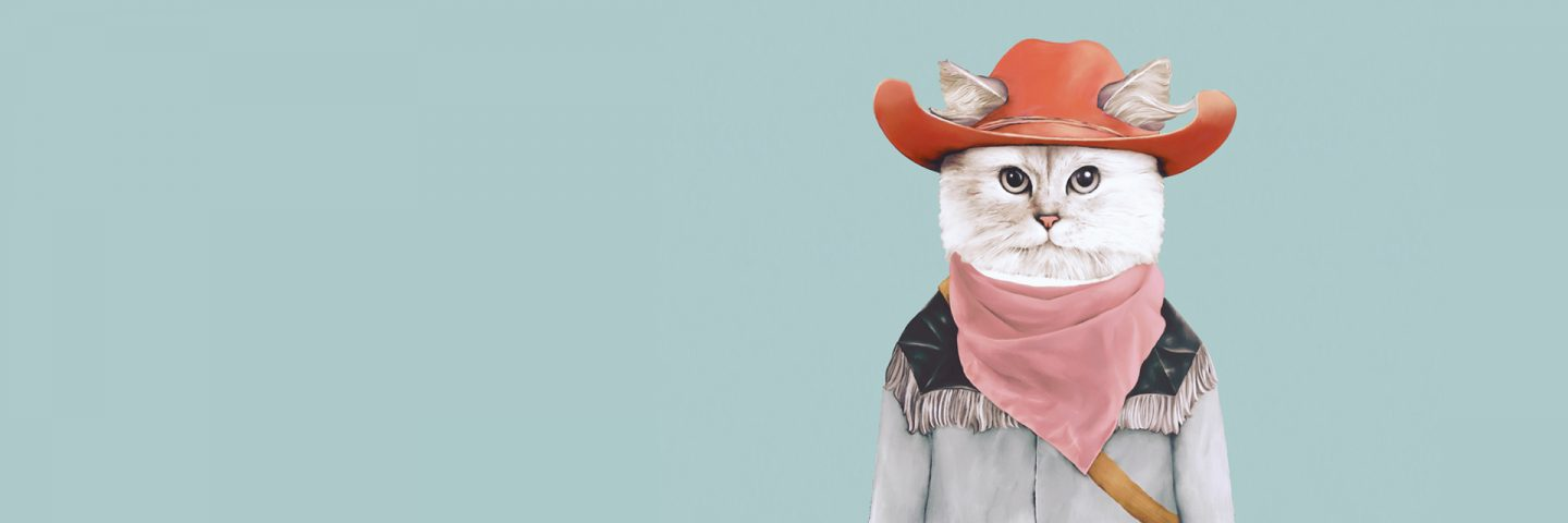 Funny cat in a hat illustration