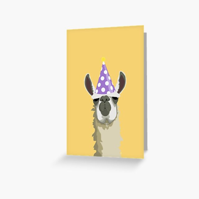 Birthday card for a coworker or boss with a lama picture