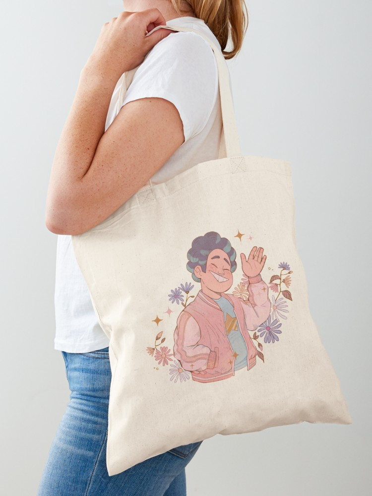 woman with Steven Universe cotton tote bag watercolor drawing