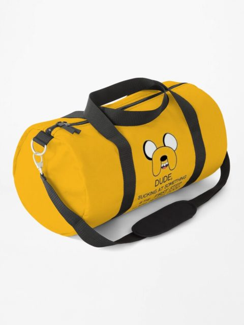 yellow adventure time duffle bag dude sometimes sucking at something quote jake the dog