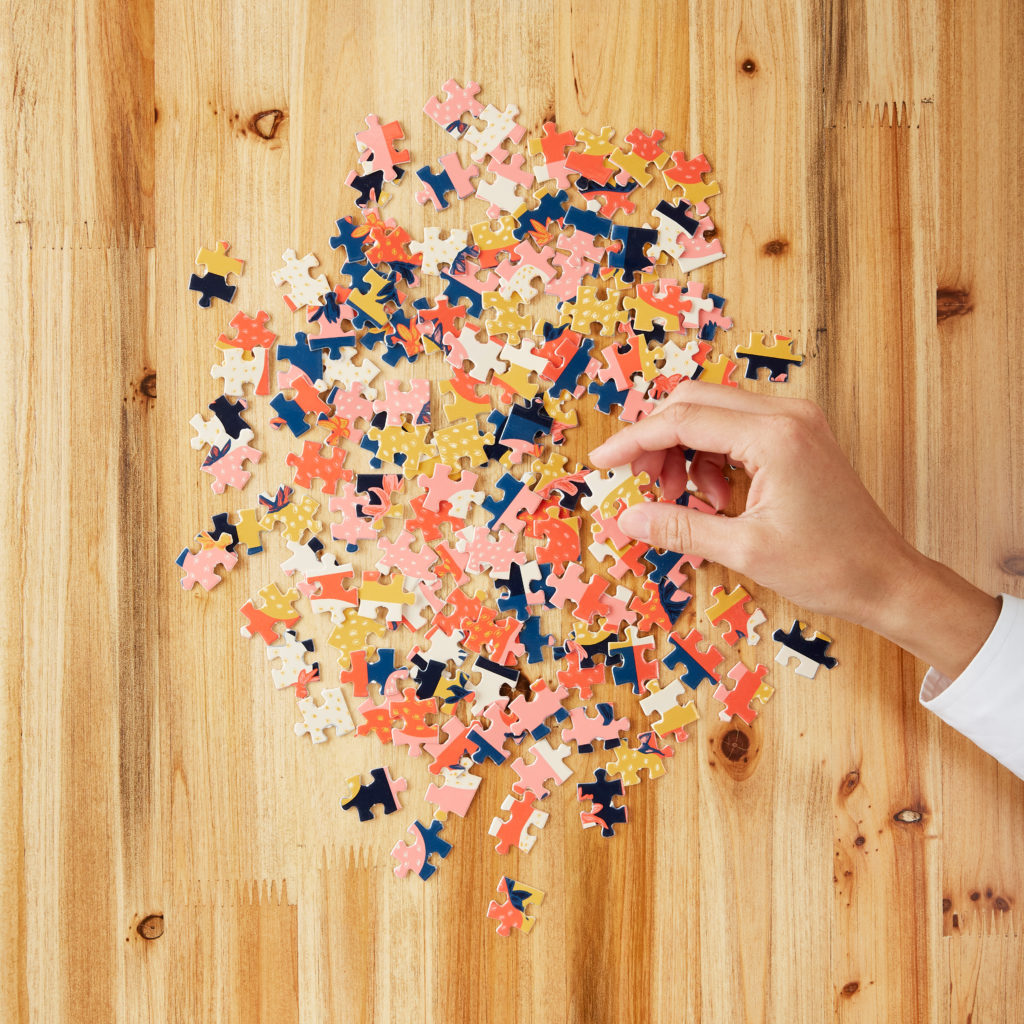 A photo of a puzzle in pieces