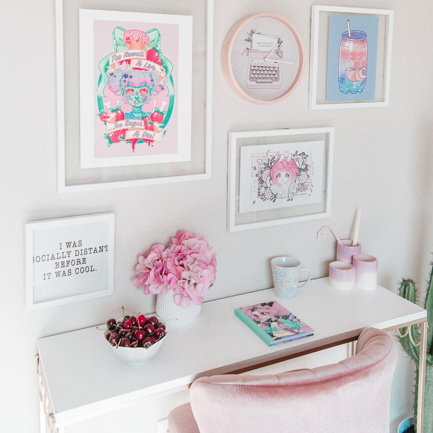 Photo of desk decor with fresh flowers