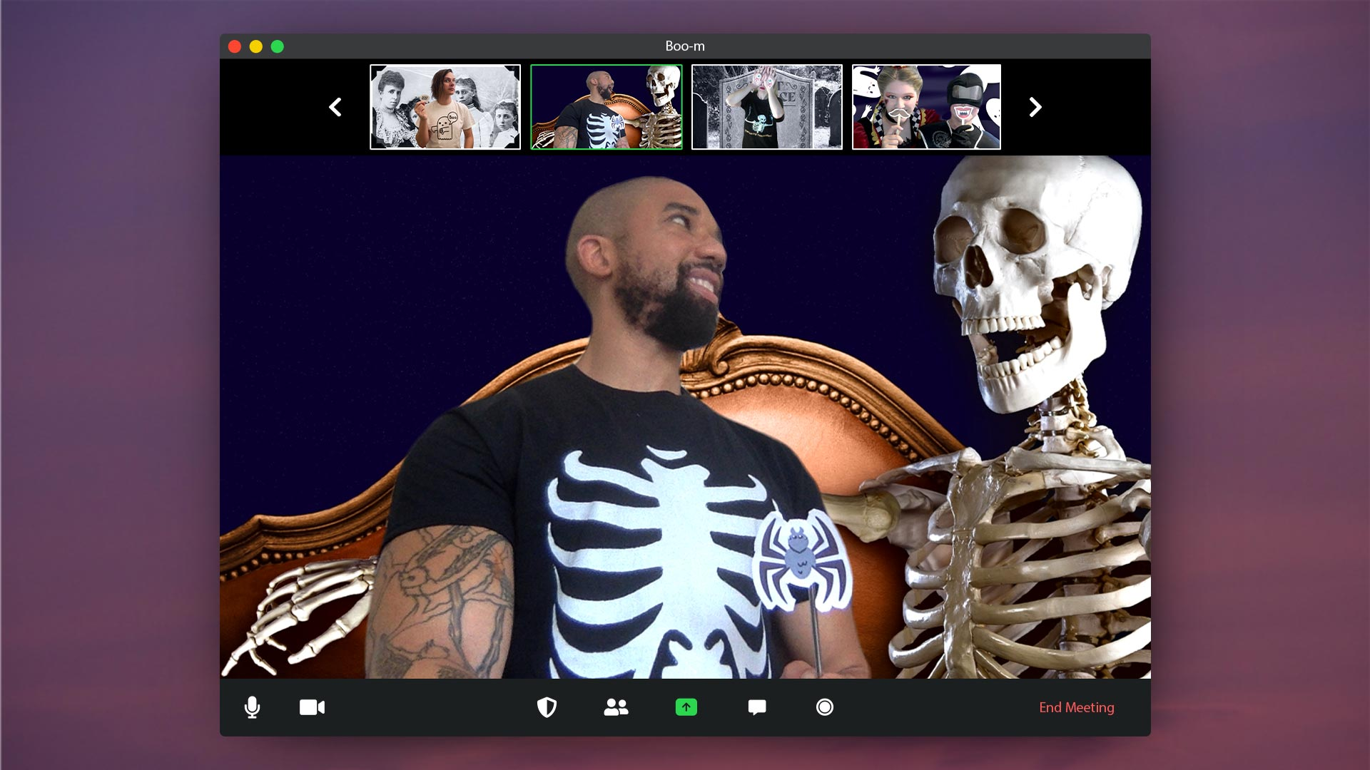 screenshot of person with skeleton zoom background