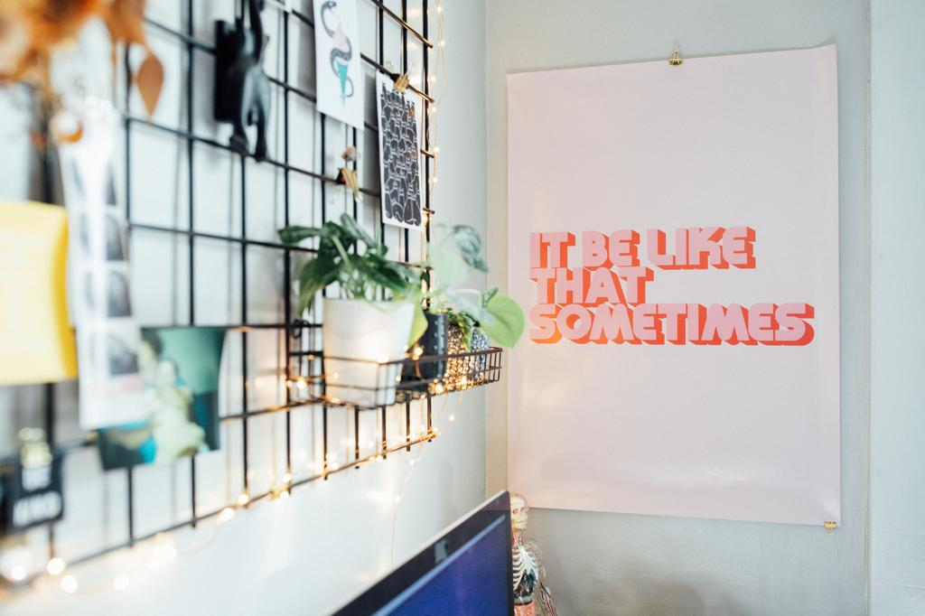 photo of office desk decor with fairy lights