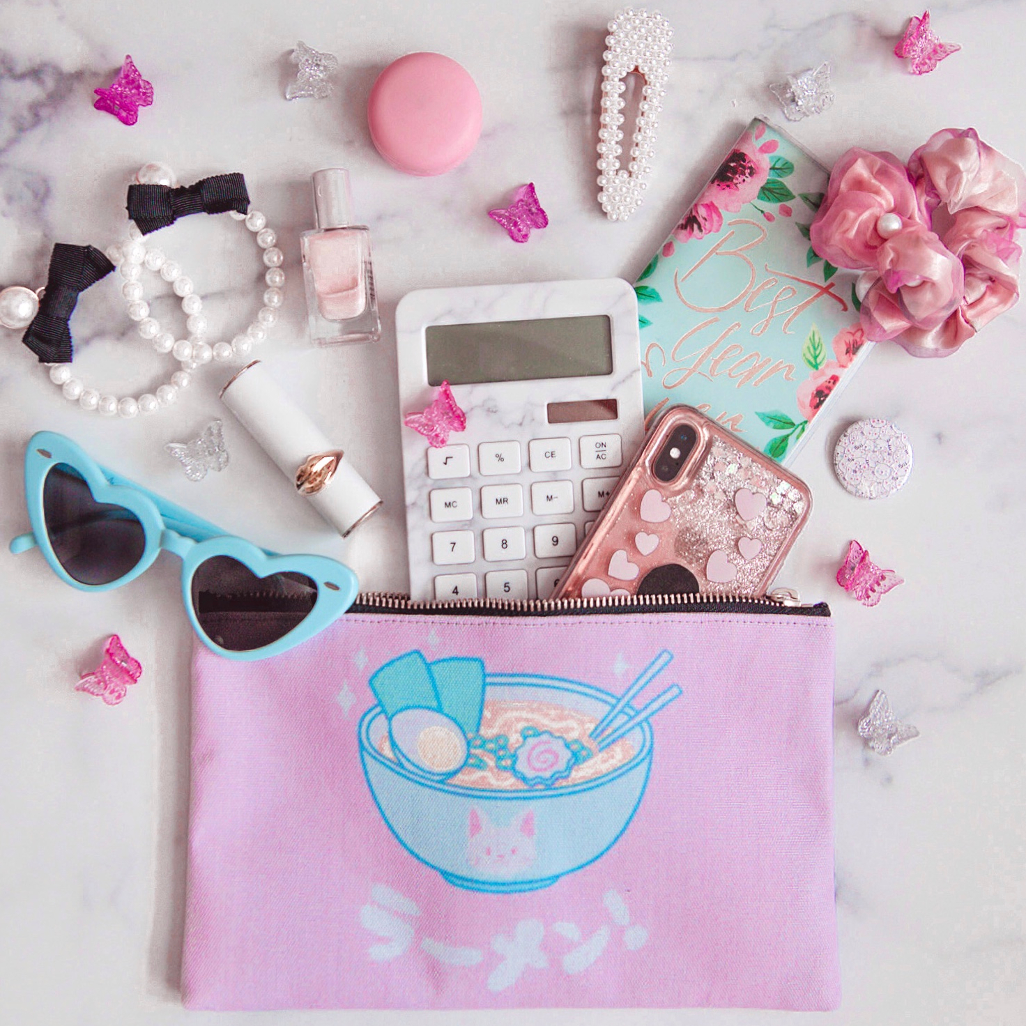 photo of a pencil case with stuff