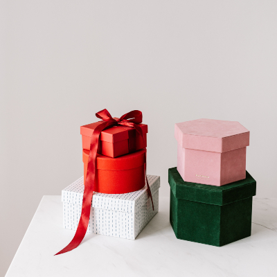 photo of Colored gift boxes