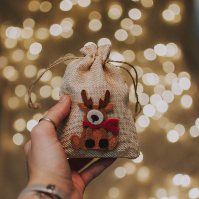 Photo of a Gift wrapped in a rustic burlap pouch