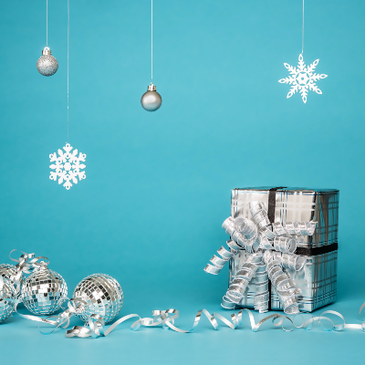 a photo of a gift wrapped in Glitzy silver wrapping paper