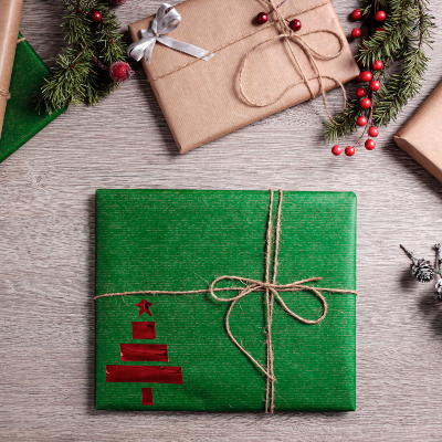 Photo of a Modern gift wrapping with geometric design