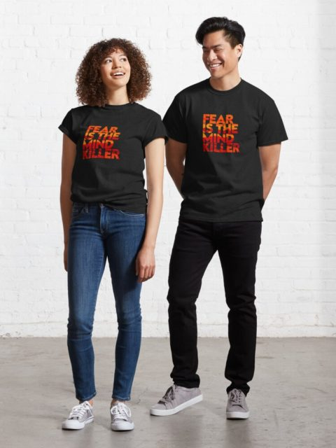 woman and man in black dune shirts model