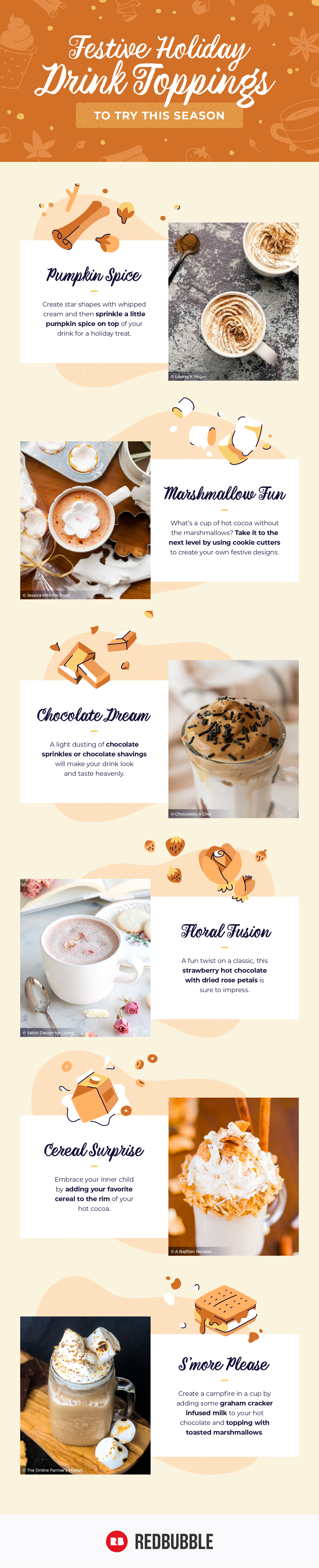Infographic of fun holiday drink toppings