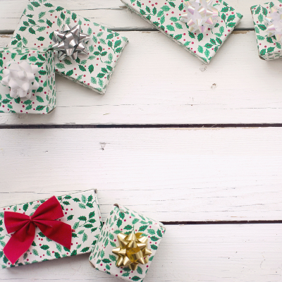 photo of garden-inspired wrapped gifts