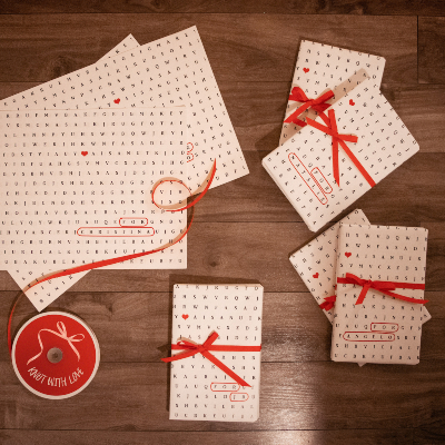 Photo of word search wrapping paper