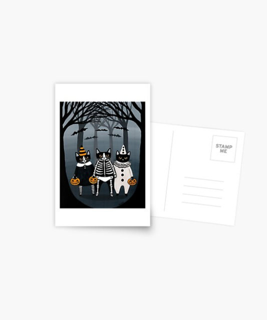 Photo of Halloween Trick and Treat Cats postcard