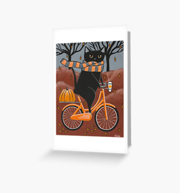 Photo of a Black Cat Halloween Bicycle ride Greeting Card