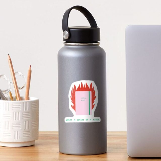 Photo of a 2020 Diary on Fire Sticker on a water bottle