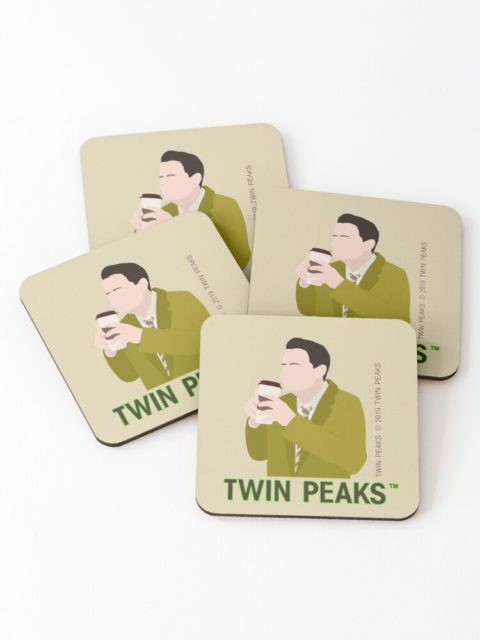set of 4 twin peaks coasters guy sipping coffee out of a to go tumbler