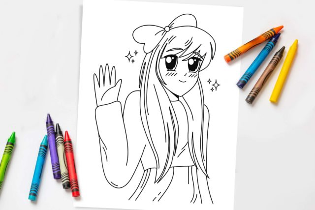 Image of an anime coloring page