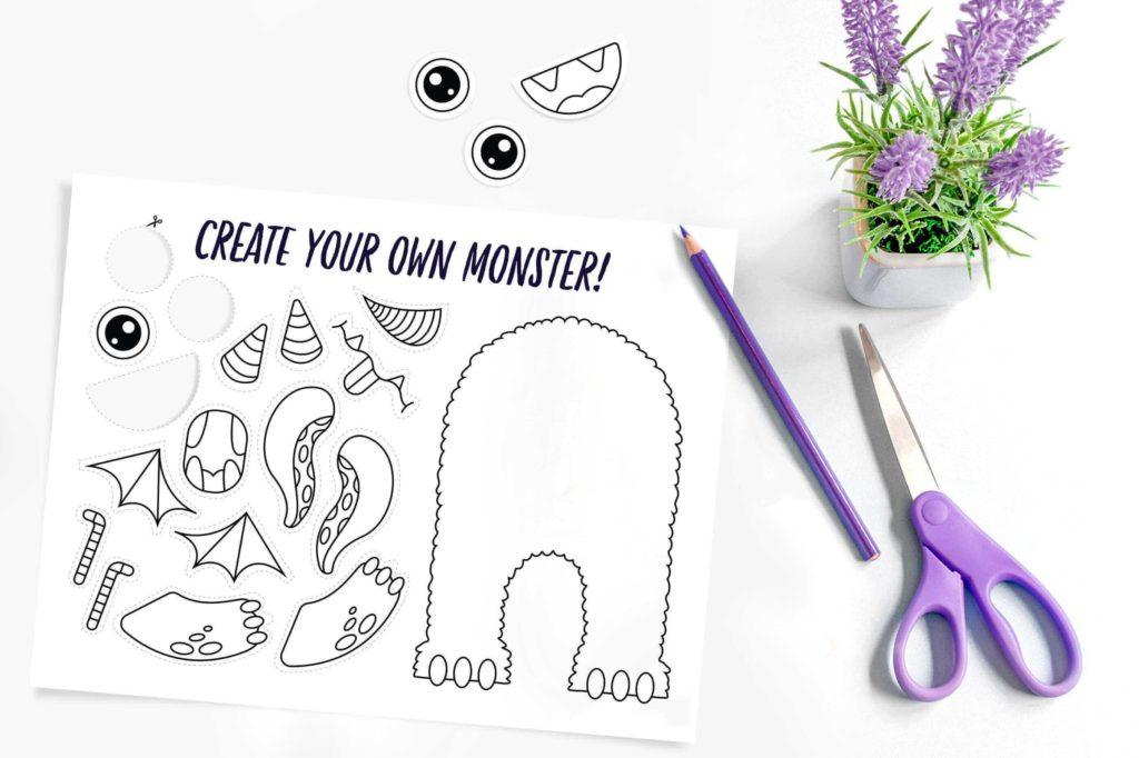 photo of the create your own monster kawaii coloring page