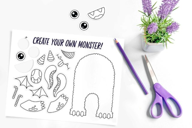 photo of a build your own monster coloring page