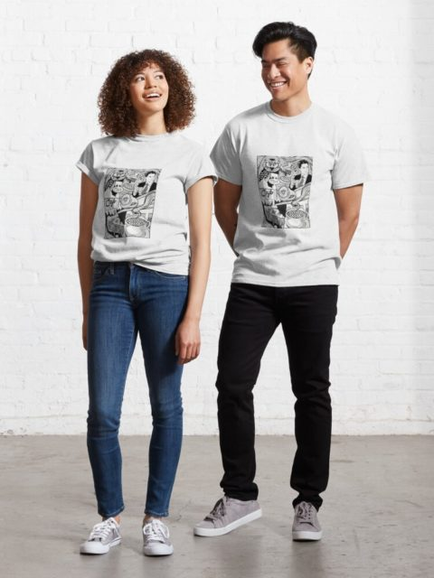 man and woman modeling twin peaks shirts