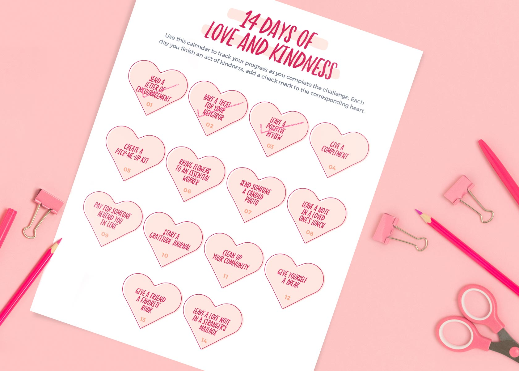 Photo of love and kindness ideas calendar on pink table