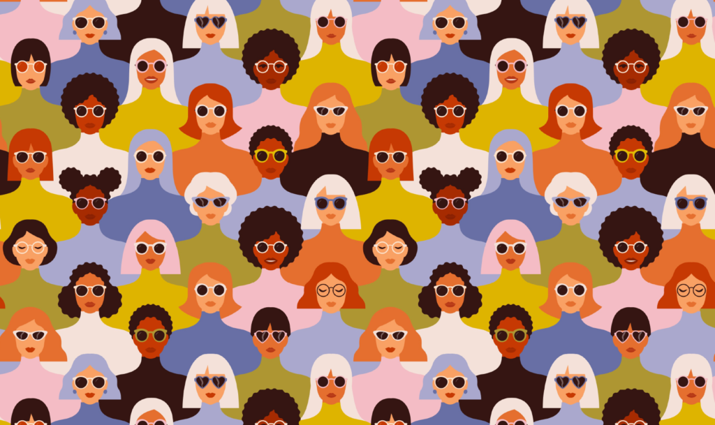 graphic by Angelina Bambina that features a diverse group of women's faces