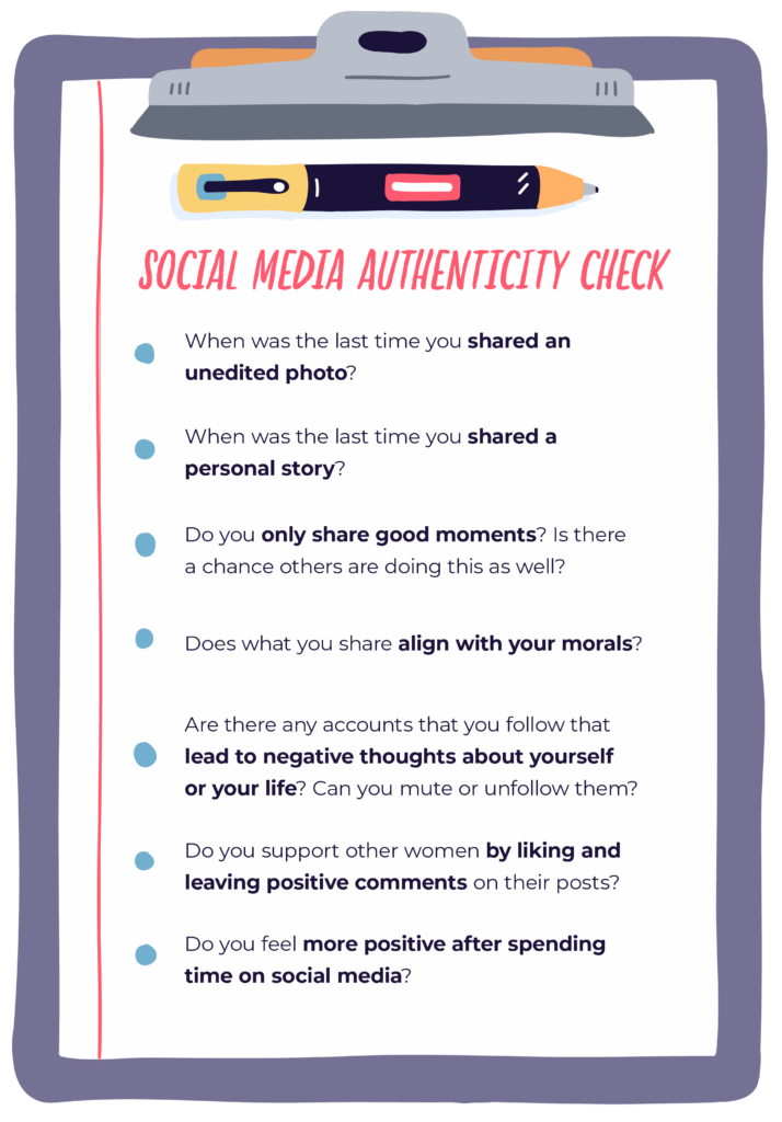 graphic that has a social media authenticity checklist