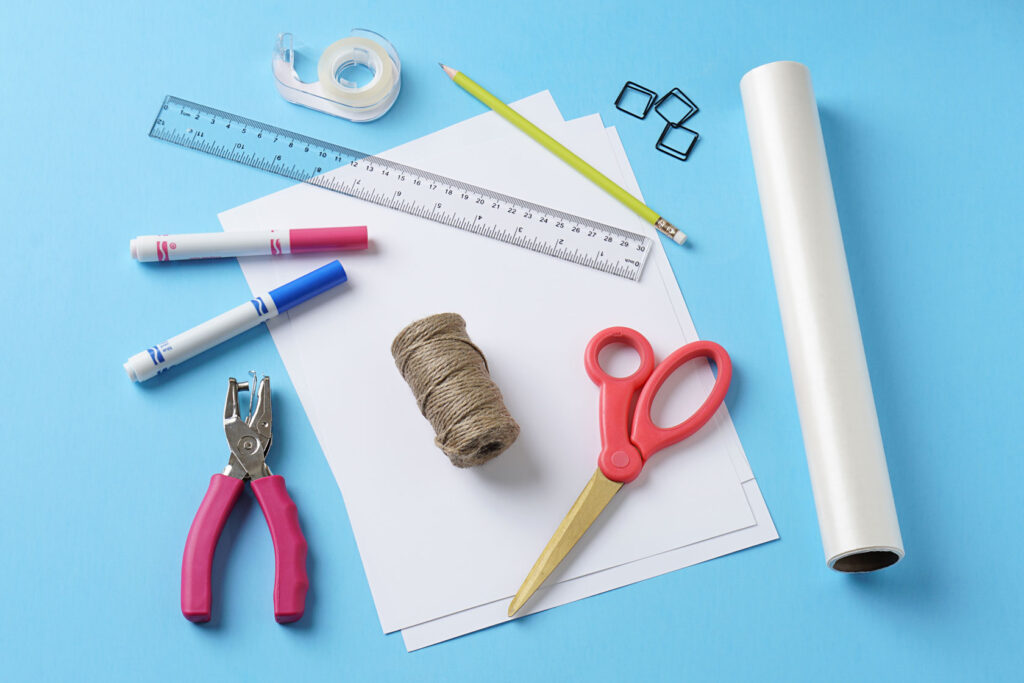 photo of supplies needed to make a sticker book