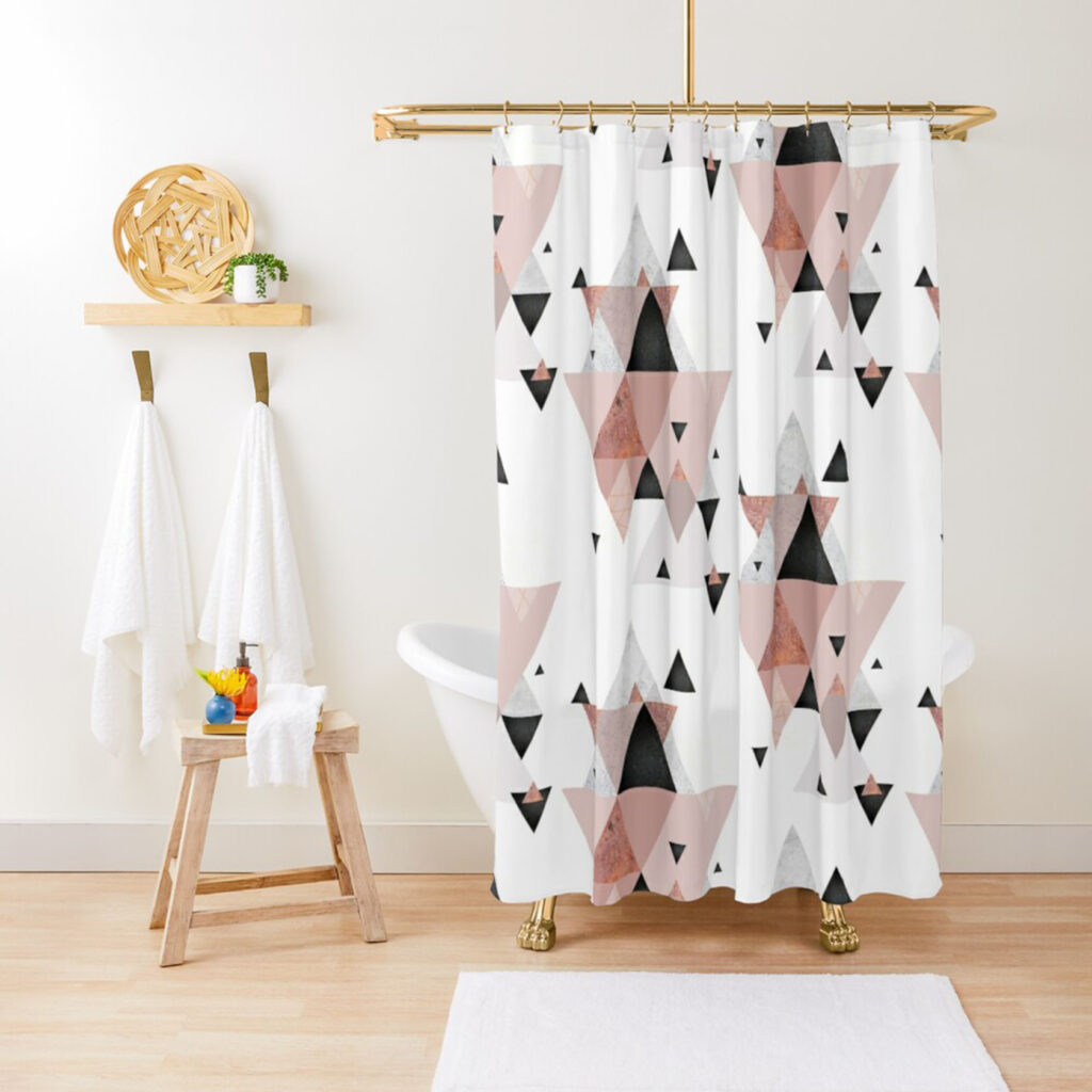 pink and black triangle shower curtain
