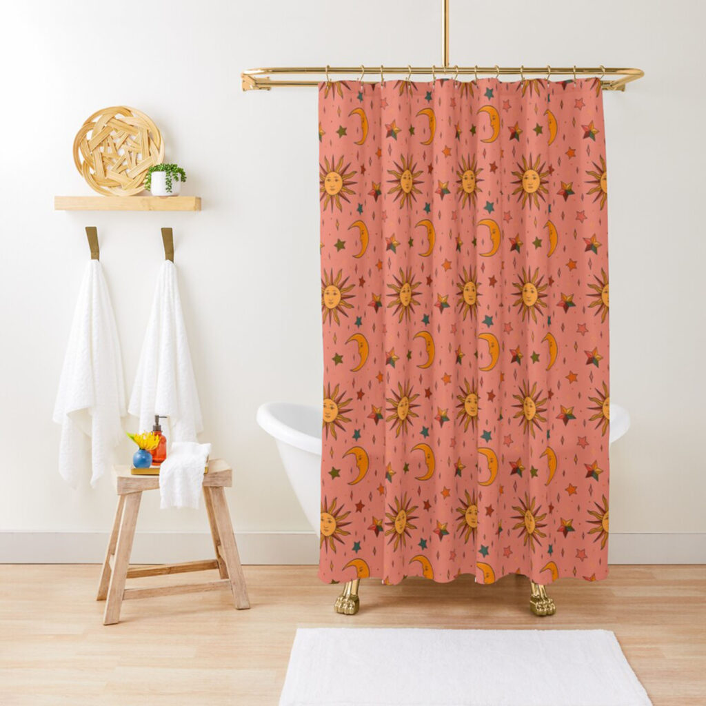 pink star and moon shower curtain